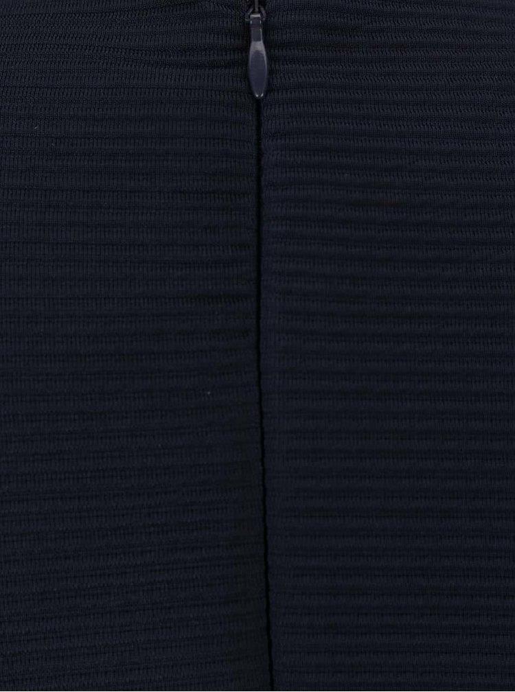 Tmavě modré žebrované šaty s 3/4 rukávy VILA Makka