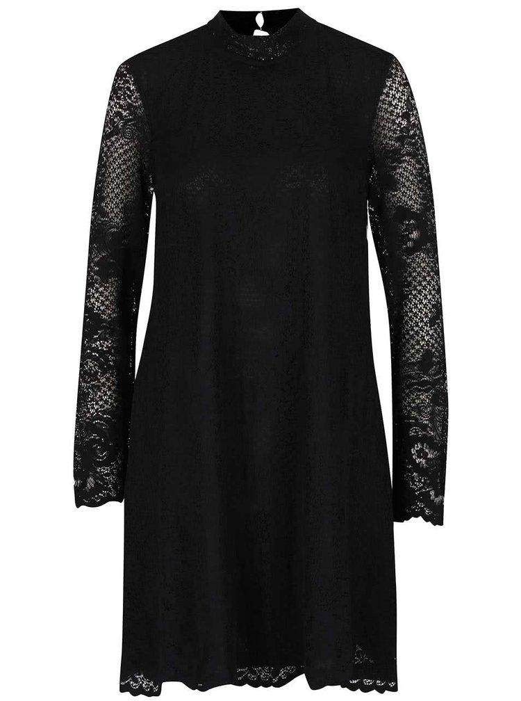 Rochie neagră VILA Loras din dantelă