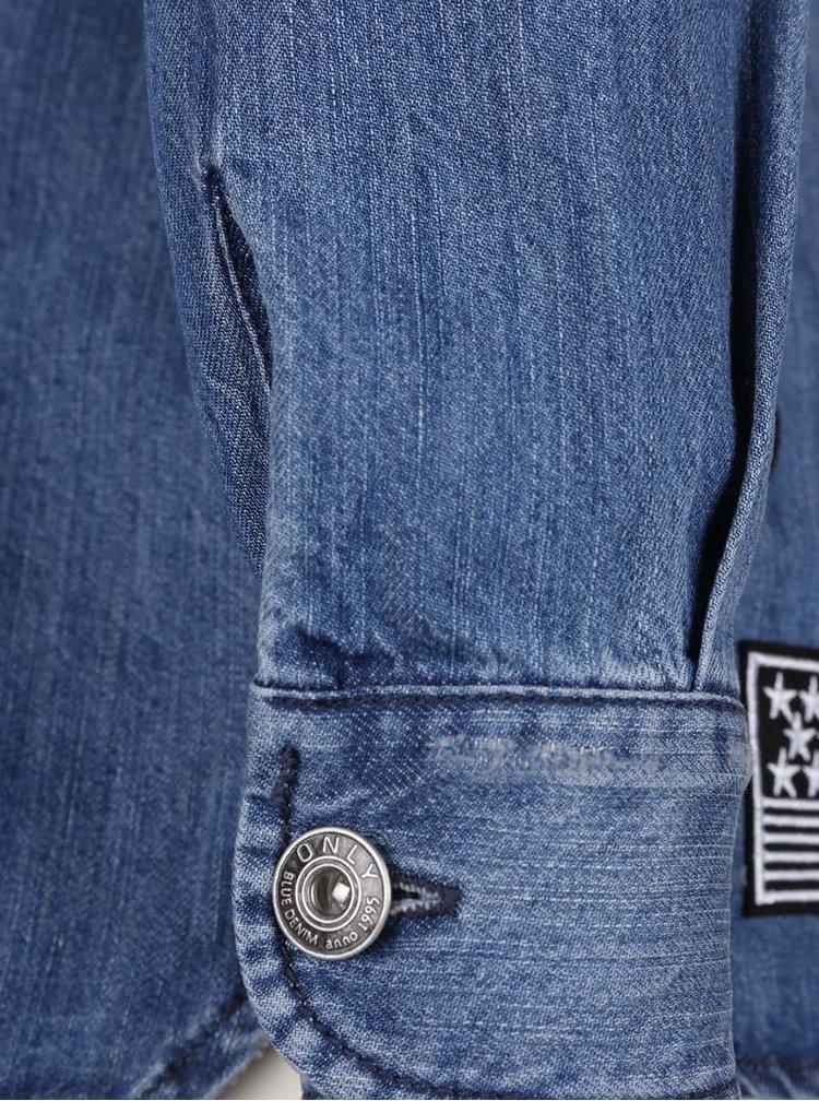 Modrá džínová bunda s nášivkami ONLY Bech