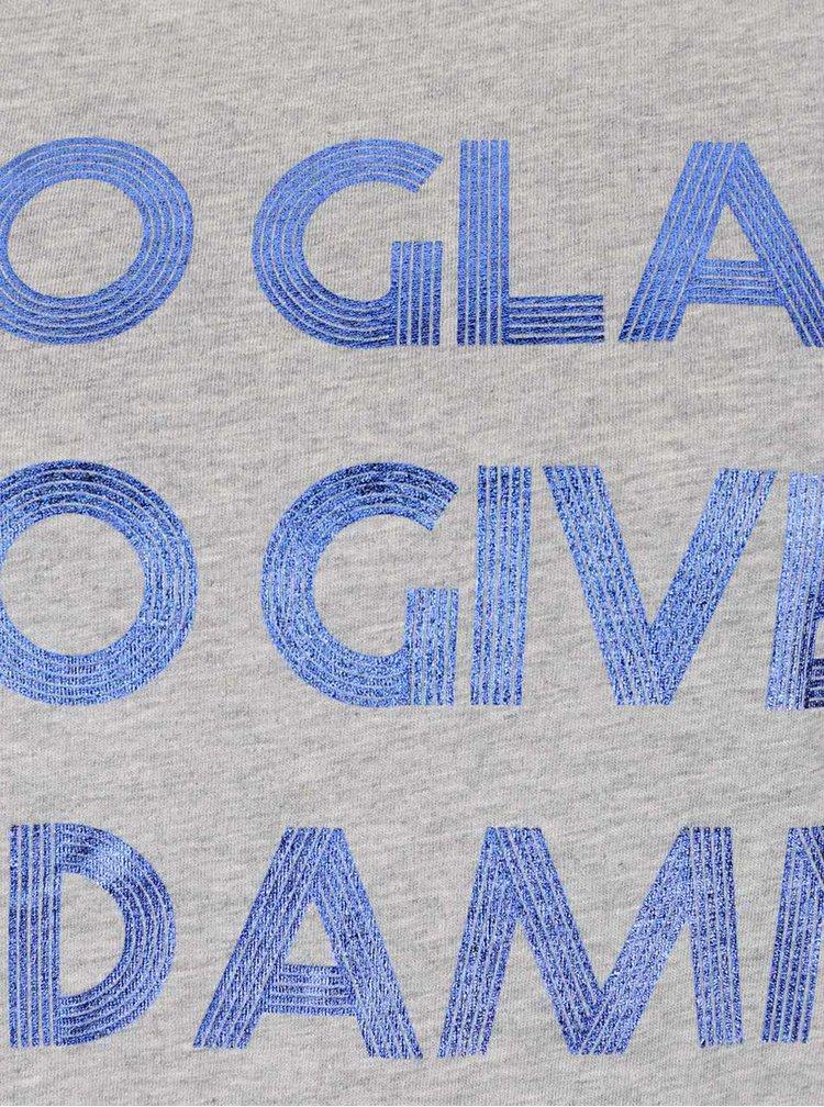 Světle šedé tričko s lesklým potiskem ONLY Foil