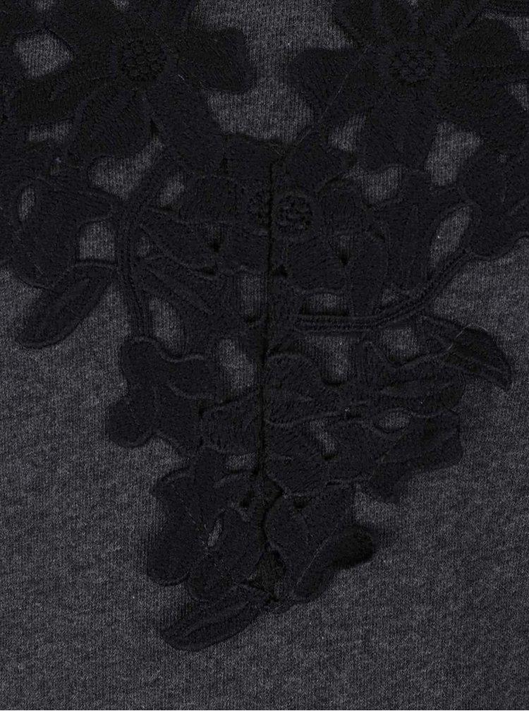 Tmavě šedá mikina s květovanými detaily VILA Kleo