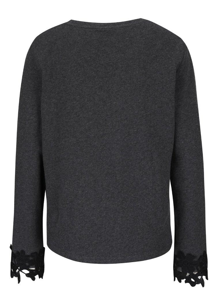 Bluză gri închis cu aplicație VILA Kleo