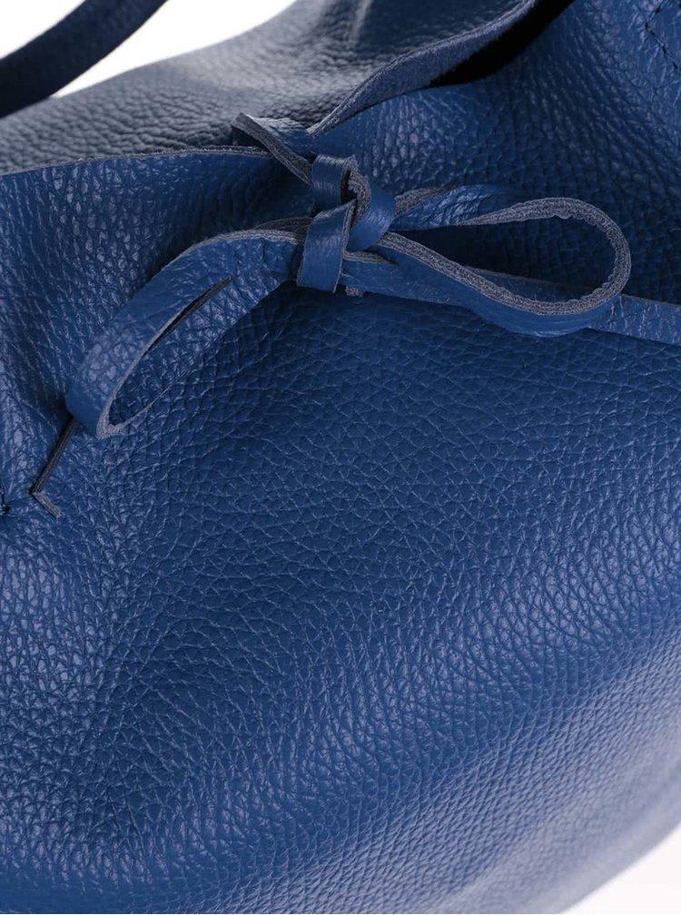 Modrý kožený shopper ZOOT Simple