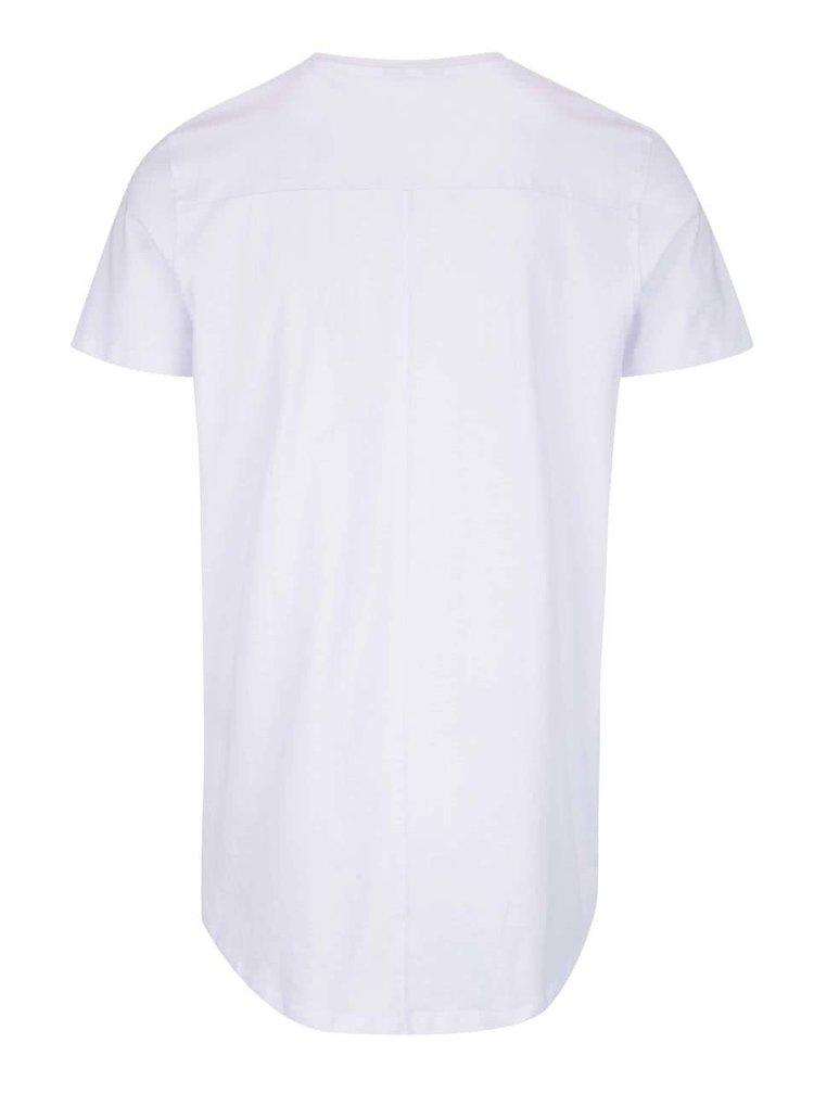 Bílé tričko s prodlouženým zadním dílem Jack & Jones Pacific Plica