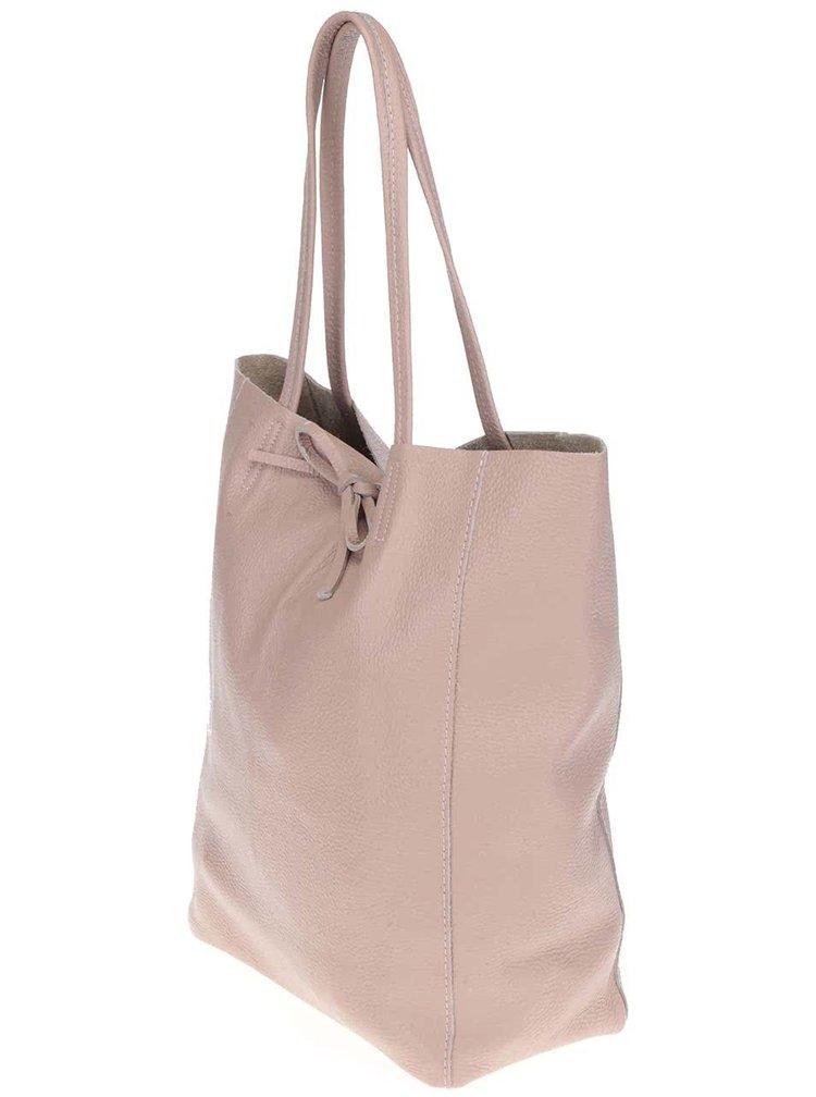 Světle růžový kožený shopper ZOOT Simple