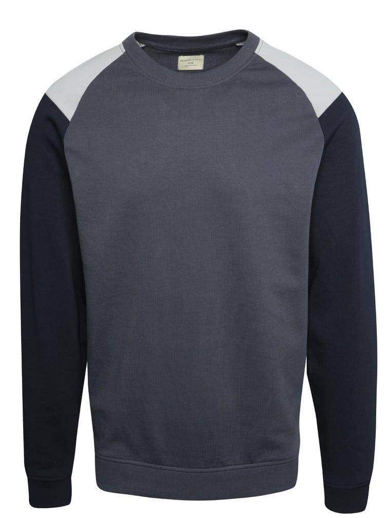 Bluză gri & albastru Selected Homme Contrast din bumbac