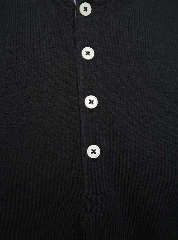 Černé tričko s knoflíky Selected Homme Niklas