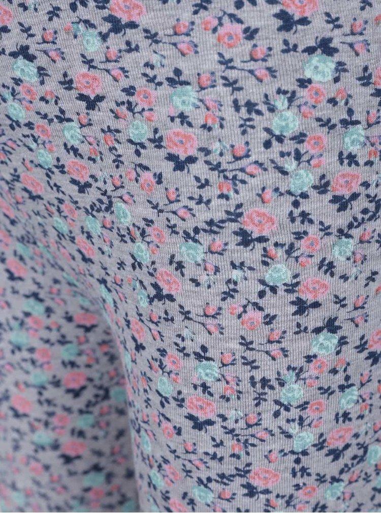 Růžovo-šedé holčičí legíny s květinami 5.10.15.
