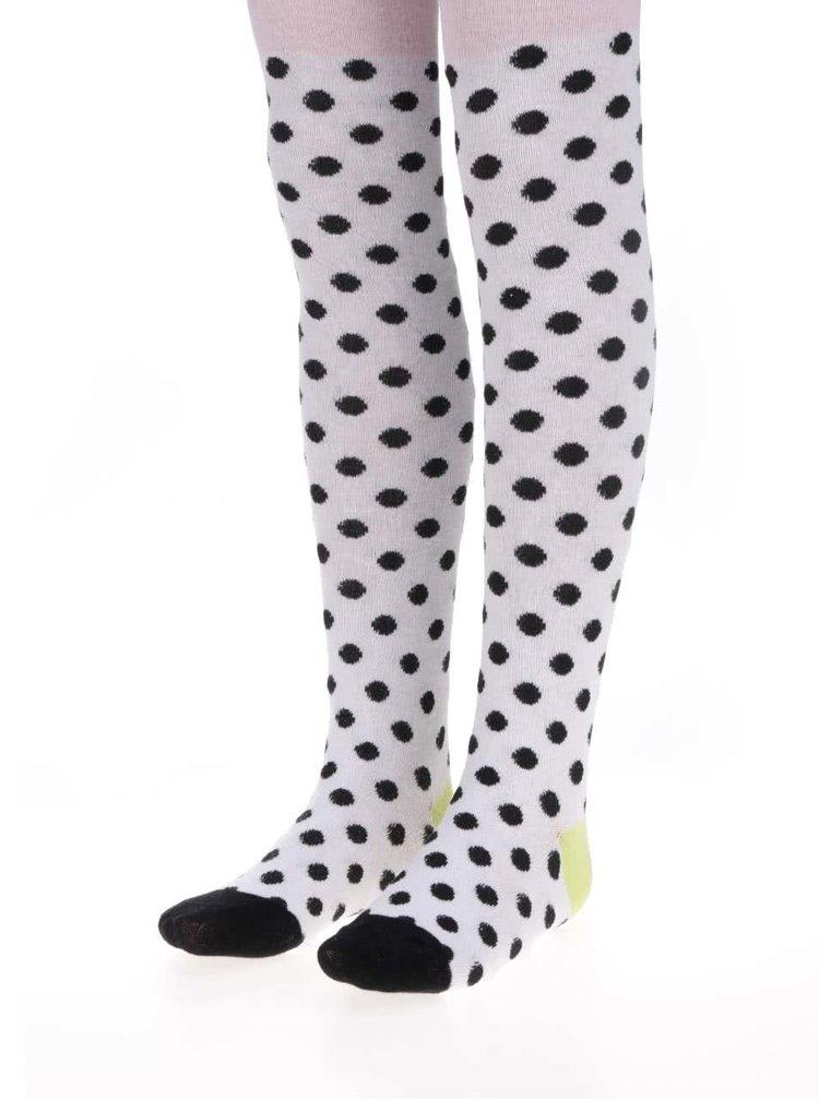 Růžovo-bílé holčičí punčocháče s černými puntíky 5.10.15.