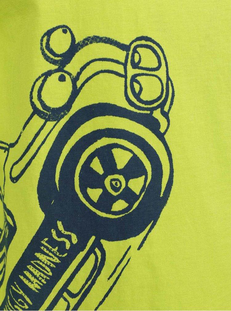 Žlutozelené klučičí triko s potiskem a dlouhým rukávem 5.10.15.