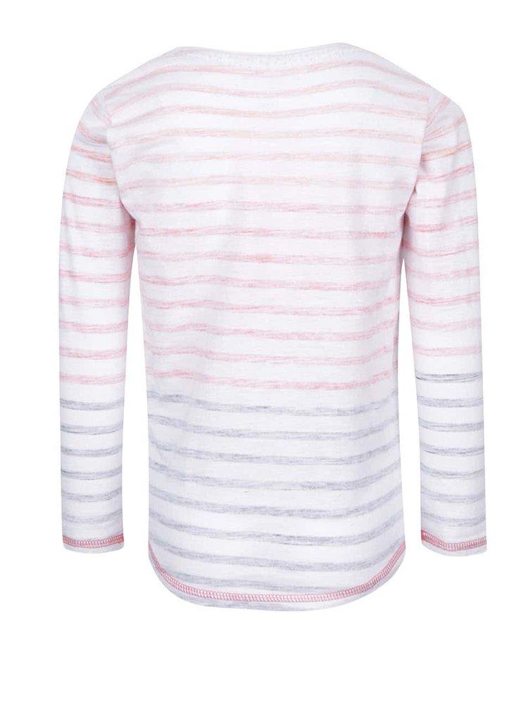 Krémové pruhované holčičí tričko s potiskem 5.10.15.