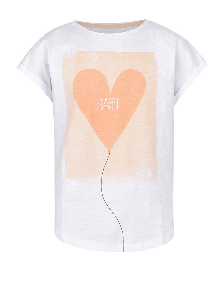 Bílé holčičí tričko s potiskem srdce 5.10.15.