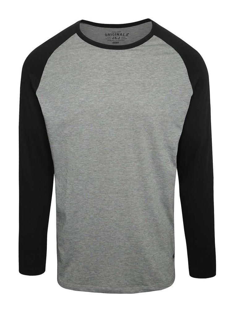Bluză Jack & Jones Stan gri cu mâneci negre