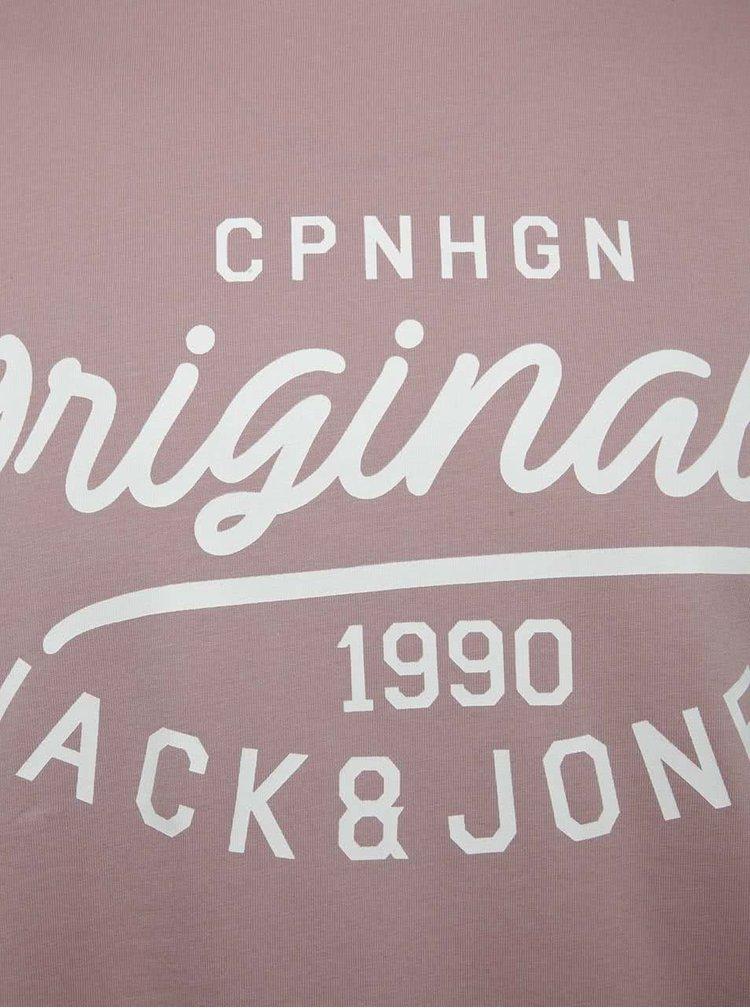 Starorůžové triko s potiskem Jack & Jones Finish