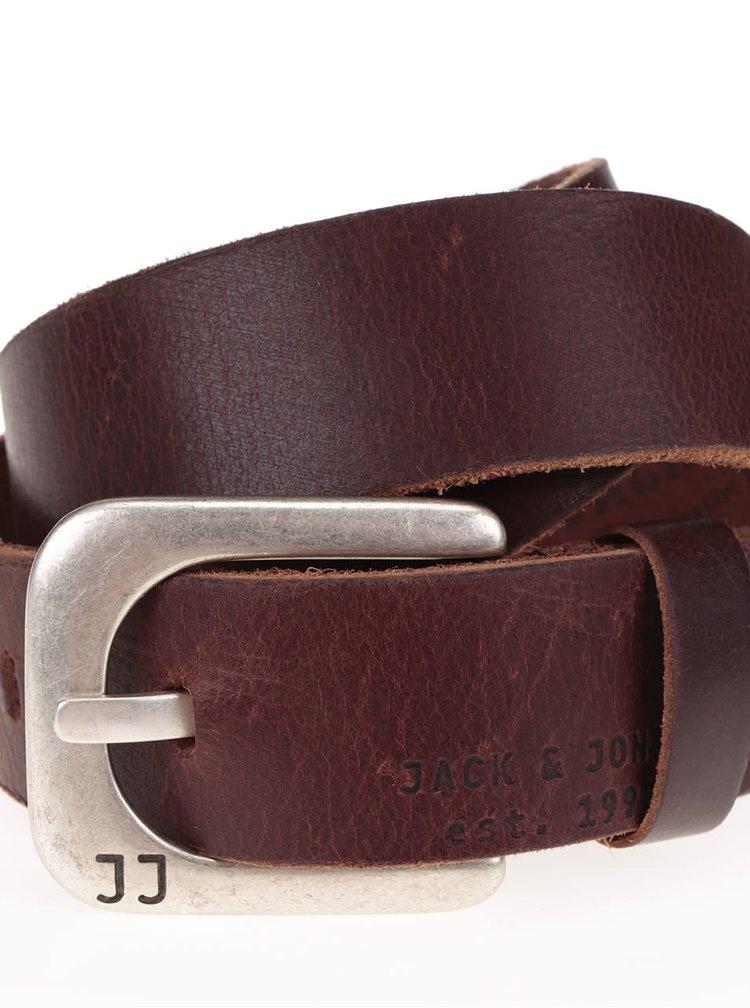 Hnědý kožený pásek Jack & Jones Max