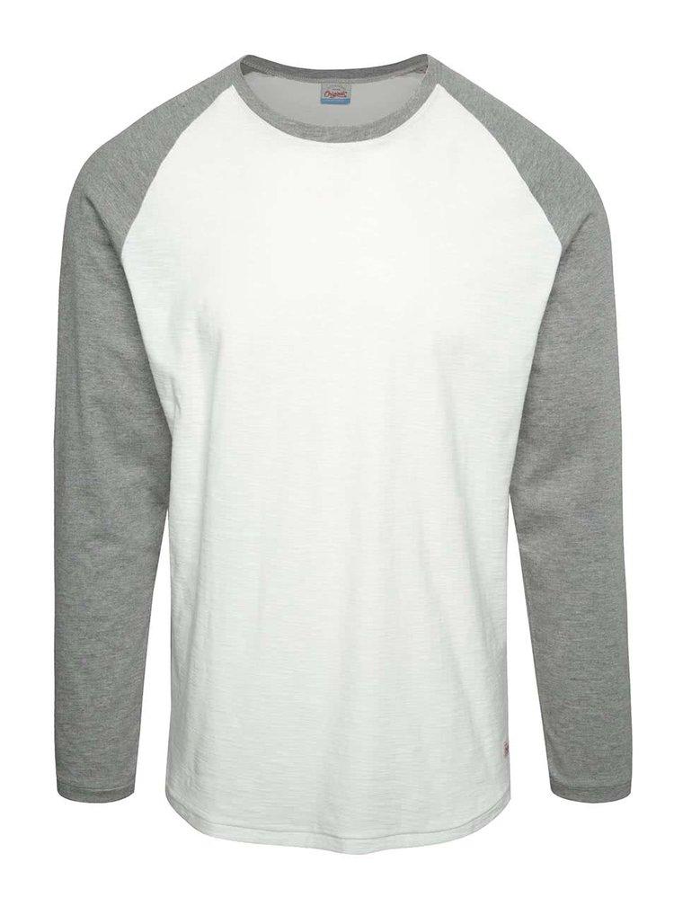 Bluză crem Jack & Jones New Stan cu mâneci raglan gri