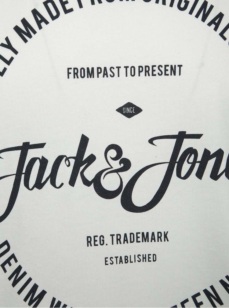 Tricou alb din bumbac Jack & Jones New cu logo print