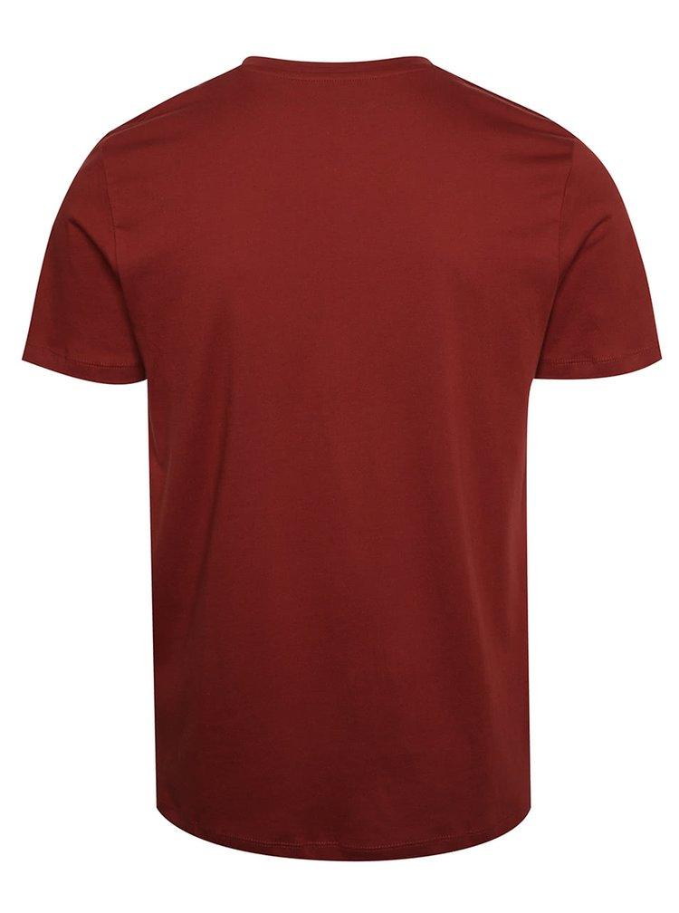 Tehlové tričko s potlačou Jack & Jones New
