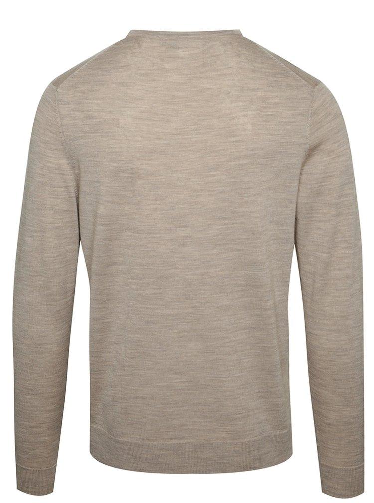 Béžový svetr z Merino vlny Jack & Jones Premium Mark