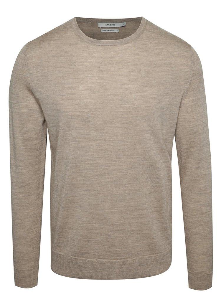 Bluză jerseu bej Jack & Jones Premium Mark din lână merinos