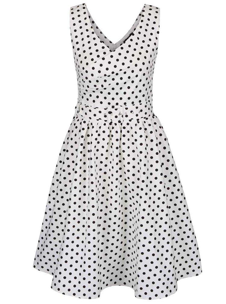 Krémové puntíkované šaty s překládaným výstřihem Dolly & Dotty May