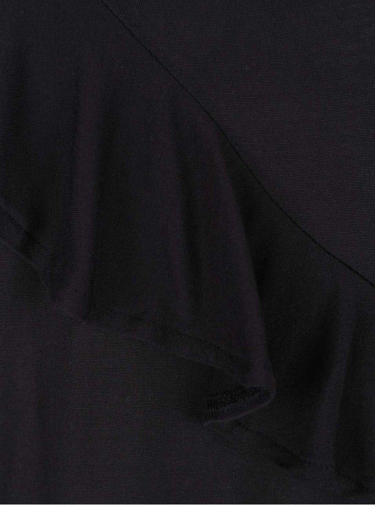 Tricou negru Noisy May Freddy cu volan decorativ