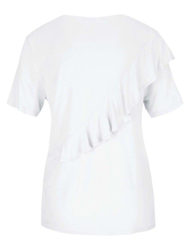 Bílé tričko s volánem Noisy May Freddy