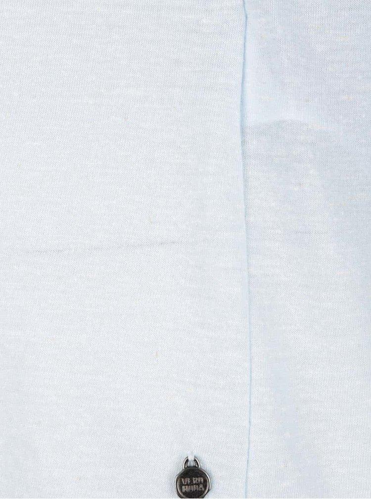 Světle modré žíhané tričko s příměsí lnu VERO MODA Lua