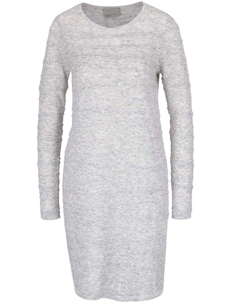 Světle šedé žíhané svetrové šaty VERO MODA Montana