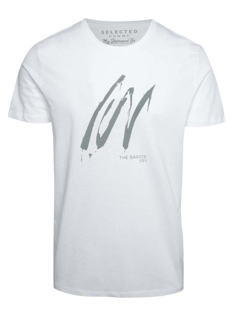 Tricou alb cu imprimeu Selected Homme Compact