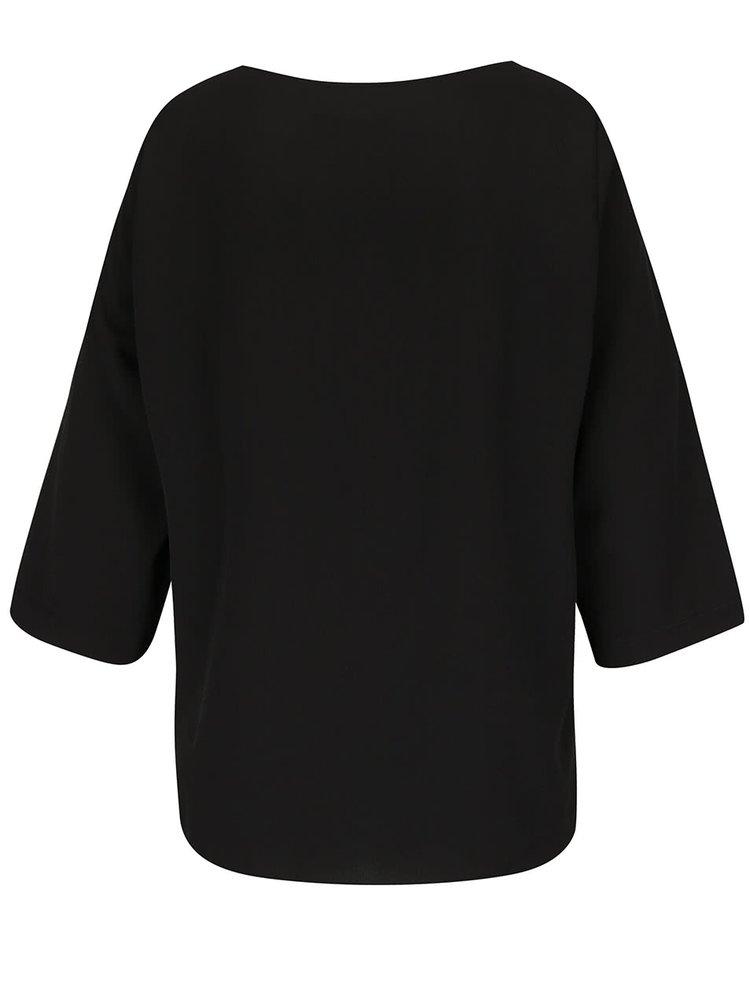 Černá volná halenka s 3/4 rukávy VERO MODA Cecilie