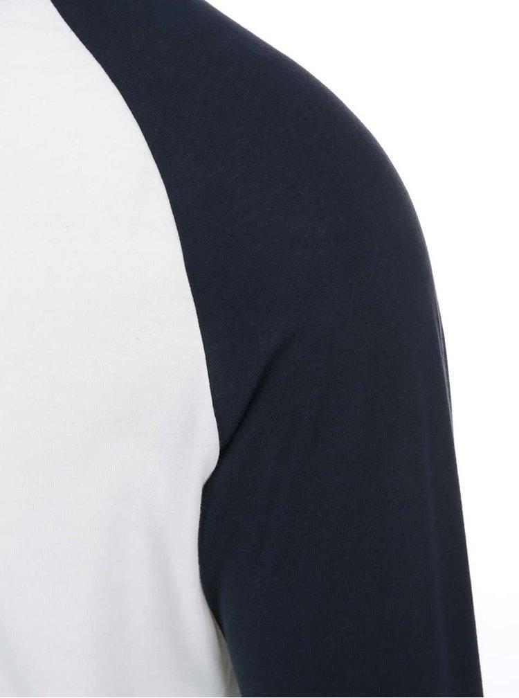 Bílé tričko s modrými rukávy Jack & Jones Stan
