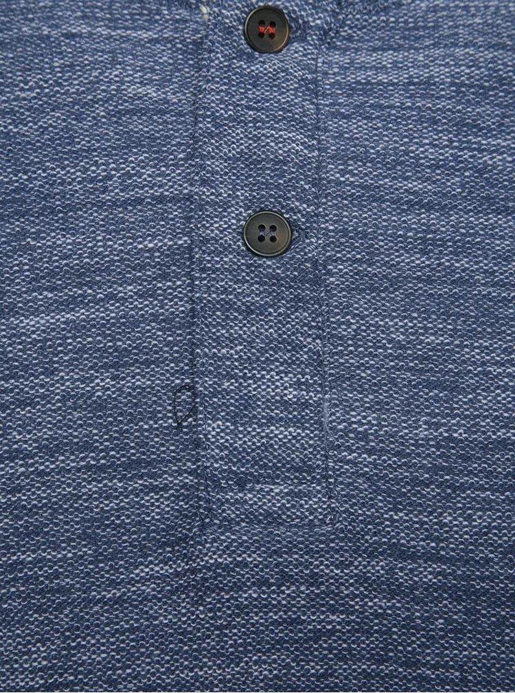 Svetlomodré melírované tričko s gombíkmi a dlhým rukávom Jack & Jones Sebastian