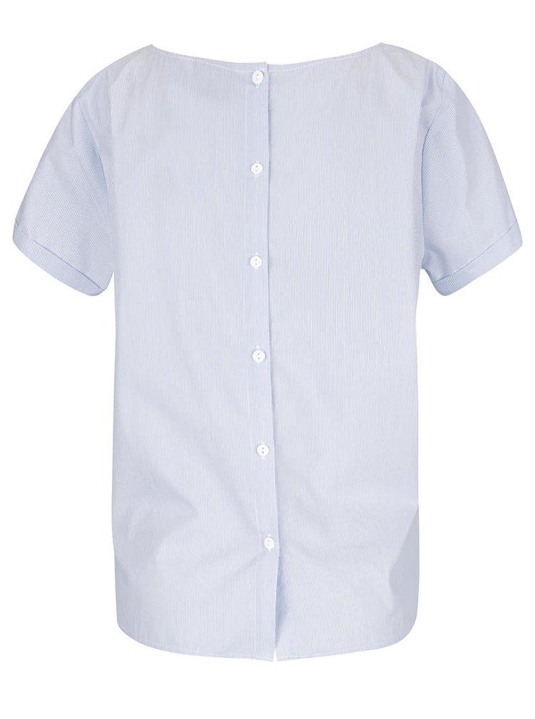 Bílo-modrá pruhovaná halenka s krátkým rukávem VERO MODA Gibby