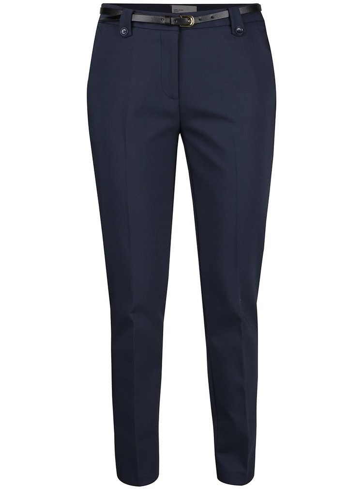 Tmavě modré kalhoty s tenkým páskem VERO MODA New Roos
