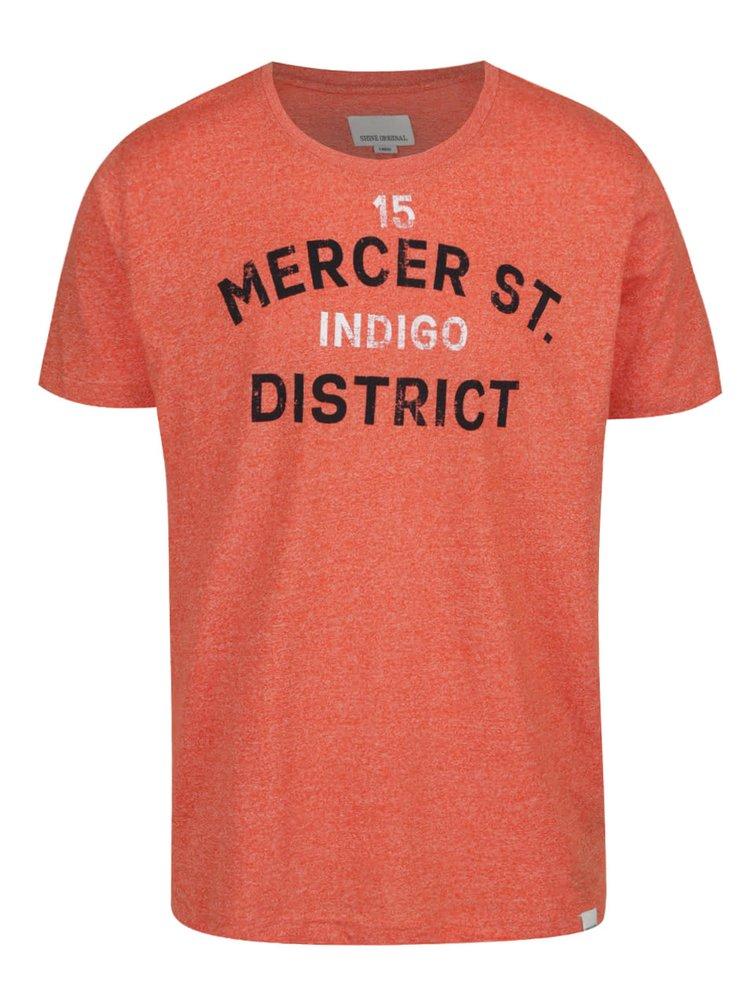 Oranžové žíhané triko s potiskem Shine Original