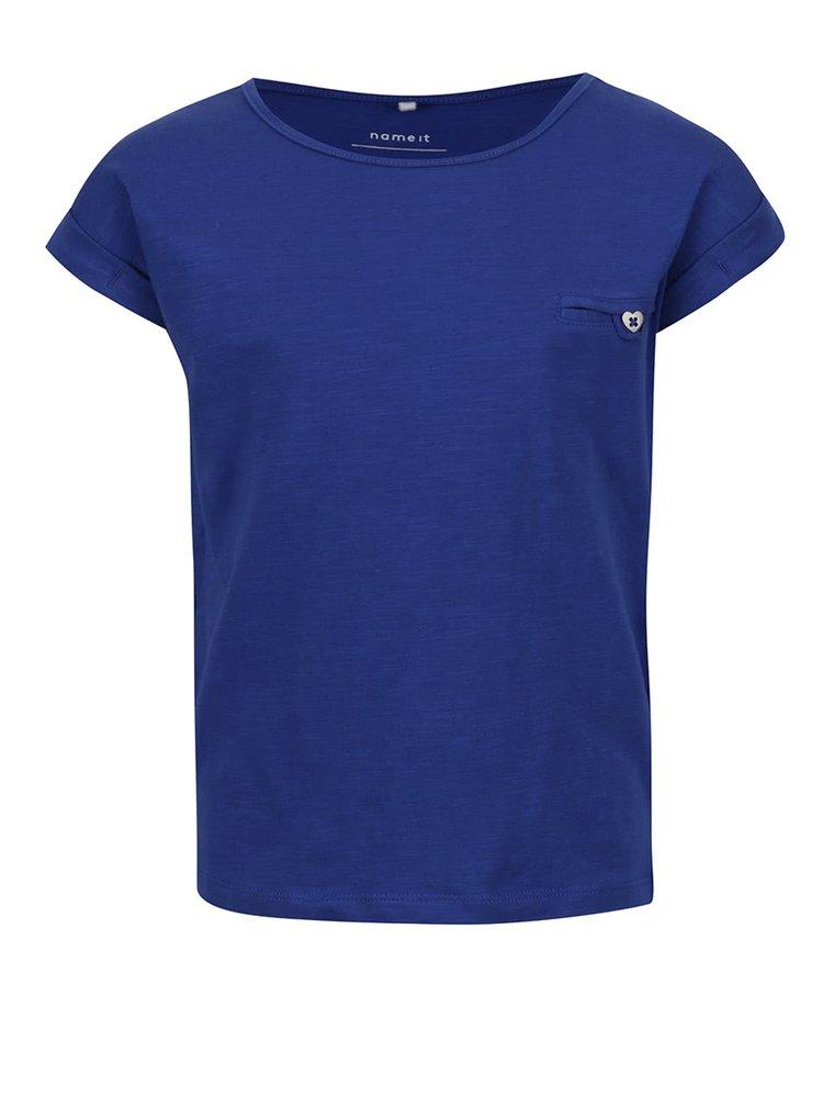 Modré holčičí tričko s krátkým rukávem name it Iseon