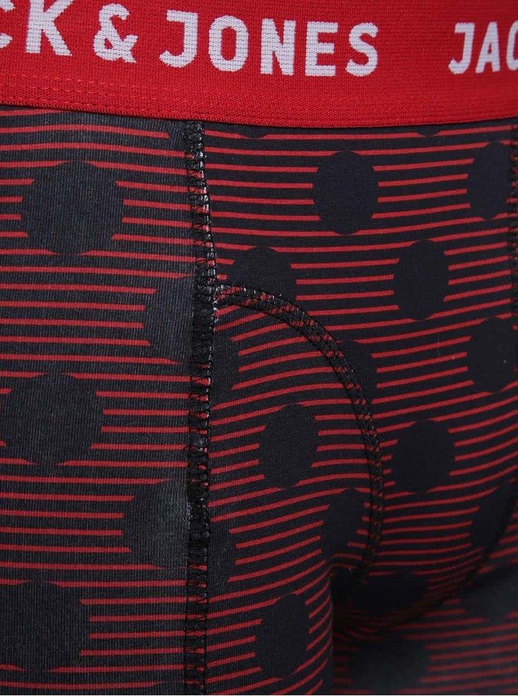 Sada tří puntíkovaných boxerek v červené a modré barvě Jack & Jones Polka