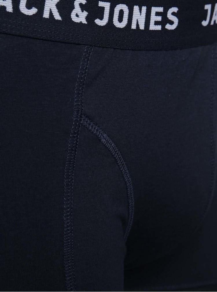 Sada tří vzorovaných boxerek v tmavě modré barvě Jack & Jones Pattern