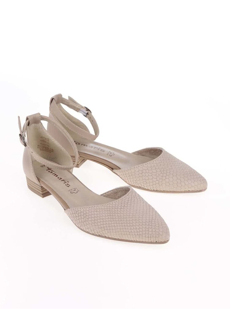 Béžové kožené sandálky Tamaris