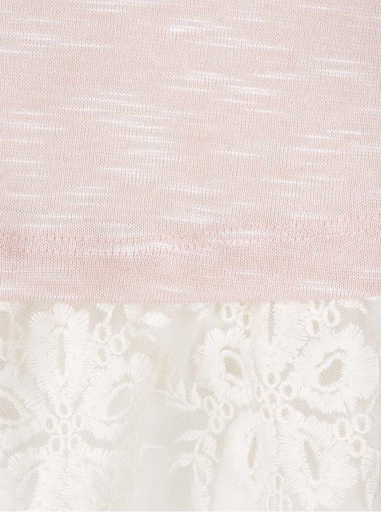Světle růžová žíhaná tunika s 3/4 rukávy a krajkovým lemem Apricot