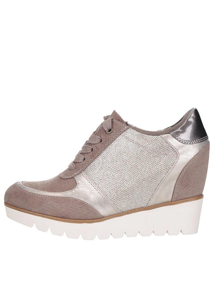 Pantofi sport maro Tamaris cu platforma