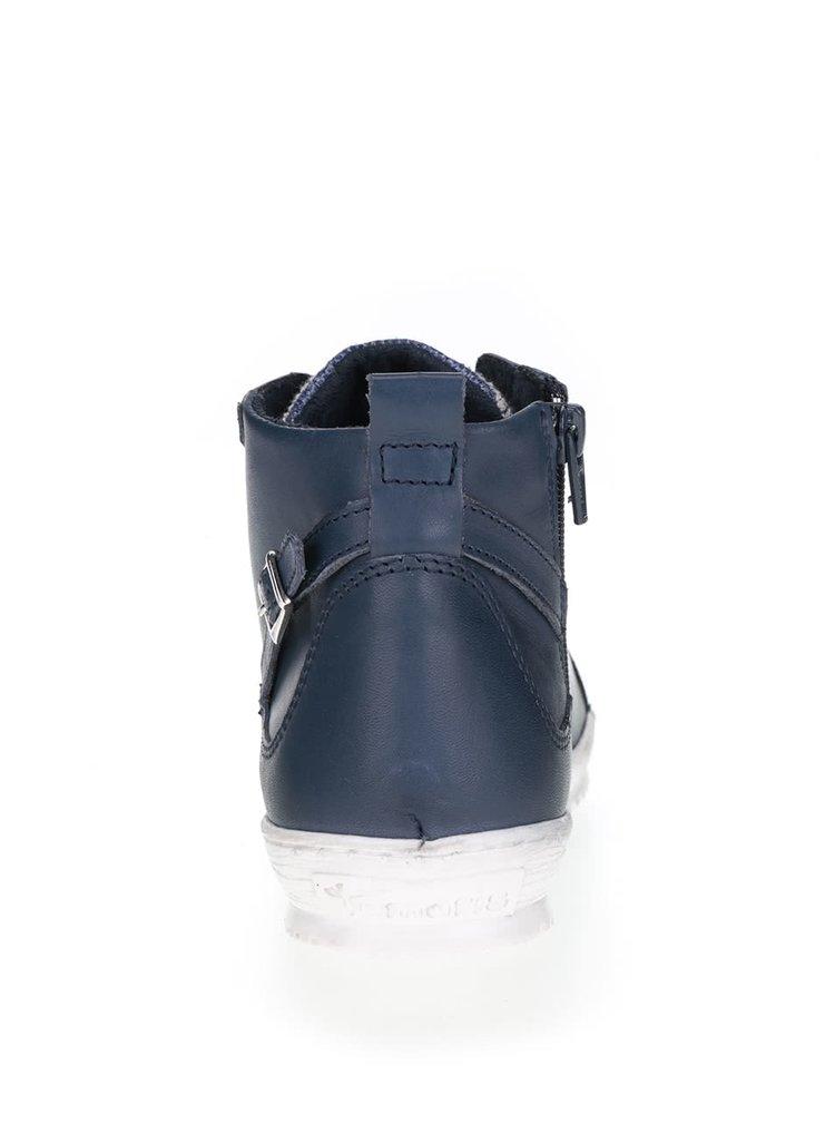 Modré kožené kotníkové boty se zipem Tamaris