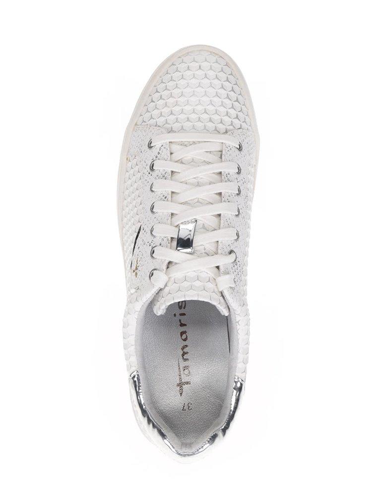Pantofi sport crem Tamaris cu model si detalii argintii cu aspect lucios