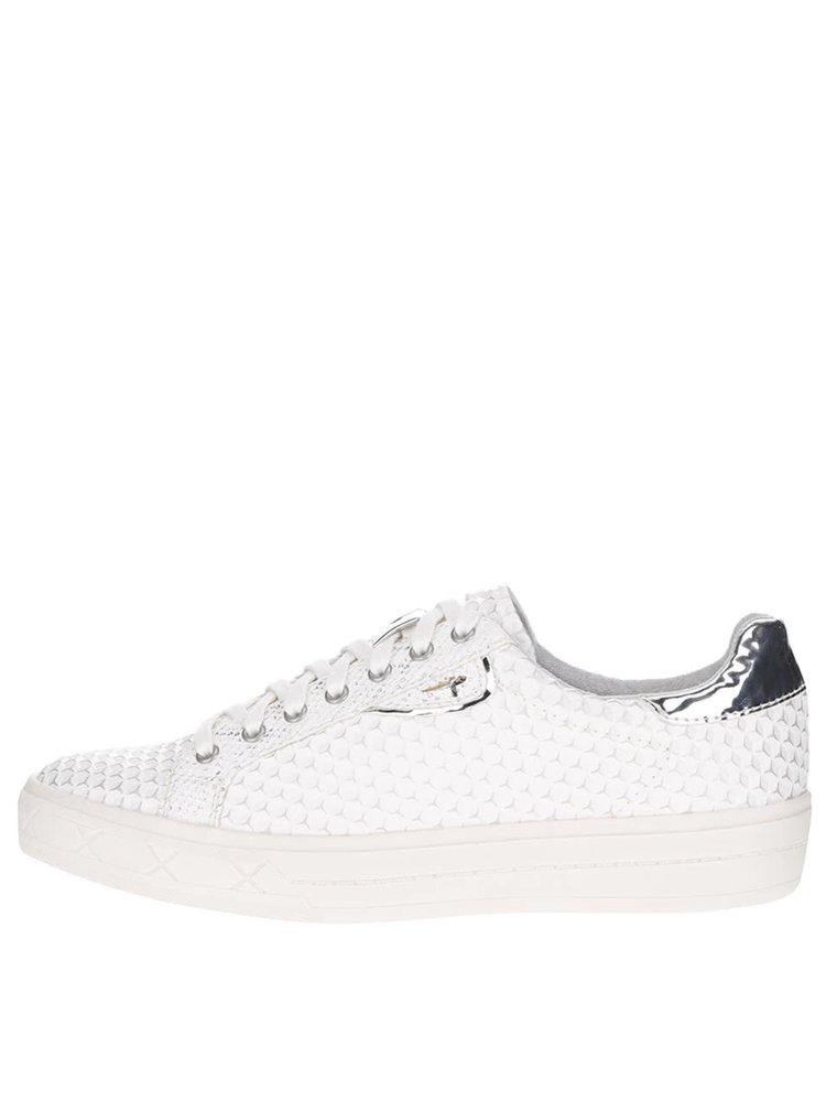 Pantofi sport crem Tamaris cu model și detalii argintii cu aspect lucios
