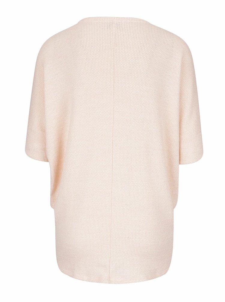 Světle růžový volný svetr s krátkými netopýřími rukávy Apricot