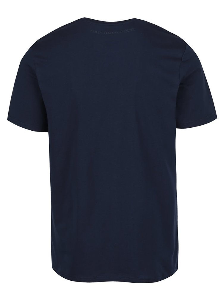 Tmavě modré pánské triko s potiskem Perry Ellis