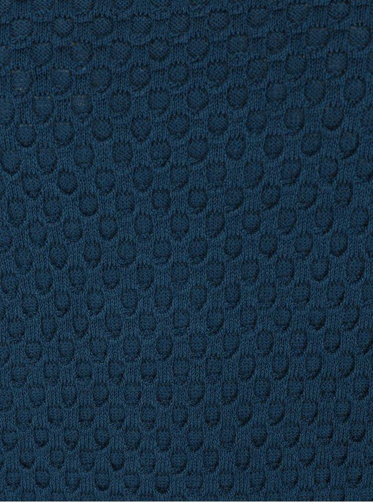 Pulover albastru petrol Apricot cu aspect 2 in 1