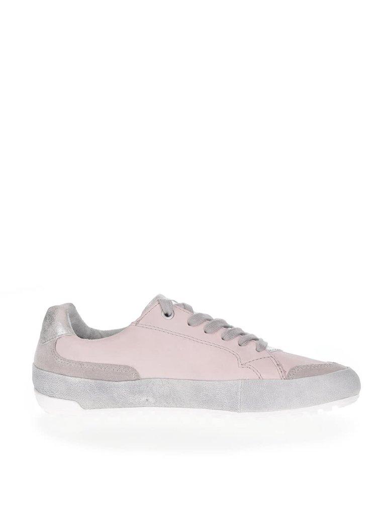 Šedo-růžové kožené tenisky Tamaris