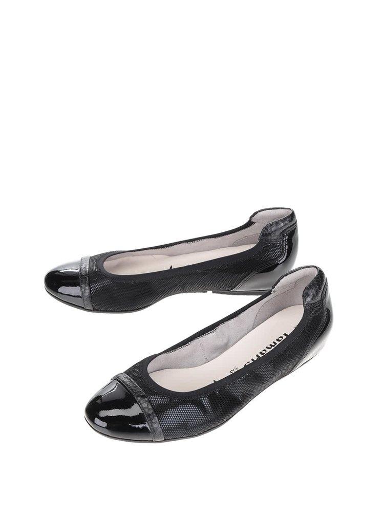Černé lesklé baleríny s jemným vzorem Tamaris
